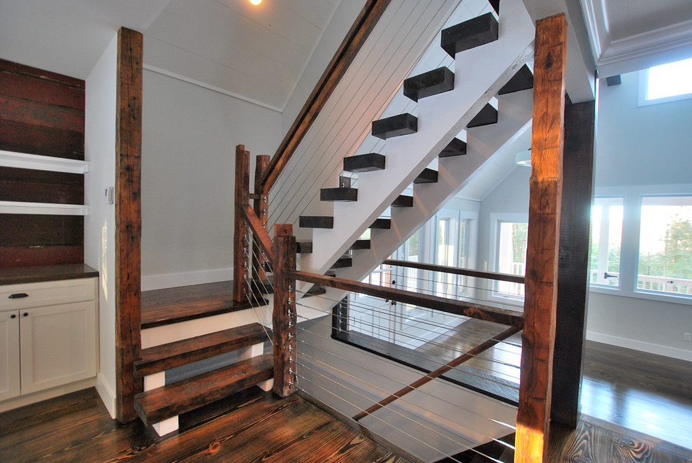 Catskill Craftsmen Staircase Rustic with Built in Cabinets Cable Rail Cable Railing Catskill Farm Cottage Country Escape