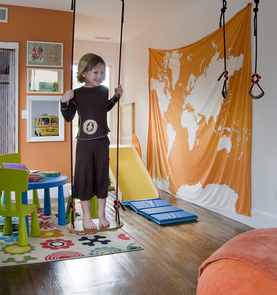 Cedar Swing Sets Kids Contemporary with Area Rug Floral Rug Gallery Wall Kids Room Map Orange Walls Playroom