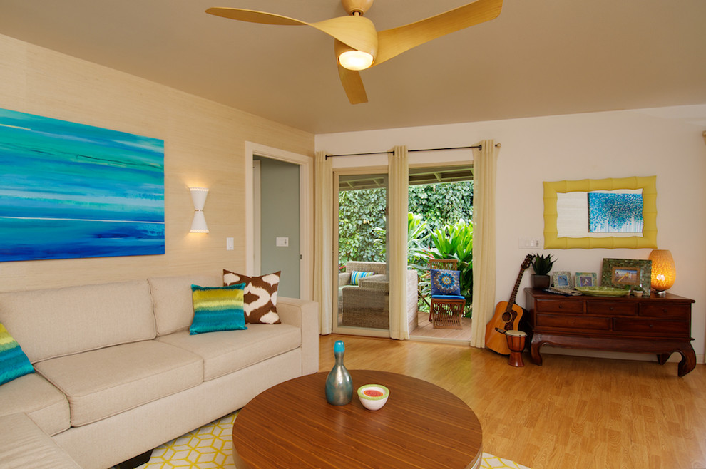 ceiling fan light covers Living Room Tropical with beige curtains ceiling fan cream sectional cream sofa dark wood dresser grass