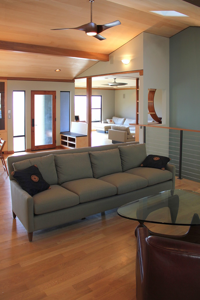 ceiling fan remote Family Room Modern with accent wall alder doors Basswood ceiling fan coffee table exposed beams fan
