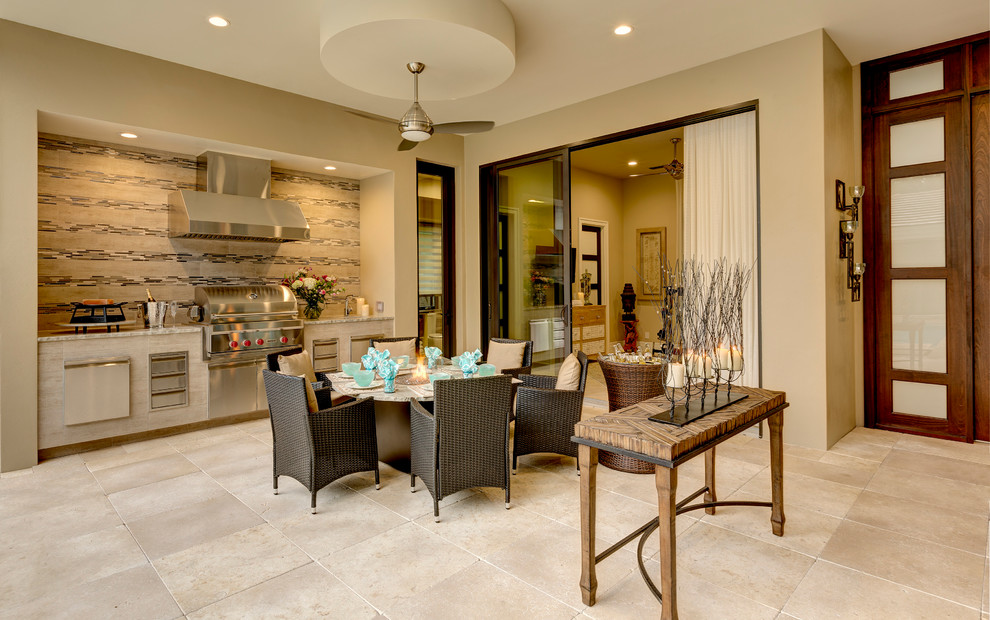 Ceiling Fan Remote Patio Transitional with Beige Floor Tile Ceiling Fan Indoor Outdoor Mosaic Tile Backsplash Outdoor Dining