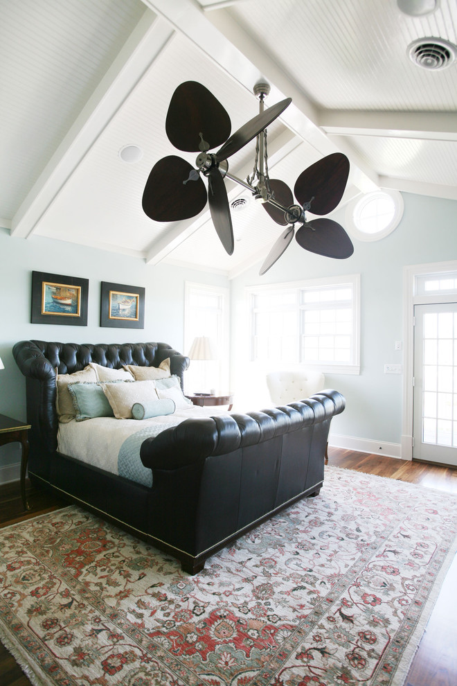 ceiling fan replacement blades Bedroom Traditional with area rug baseboards bedside table blue and brown Clerestory decorative pillows ethnic