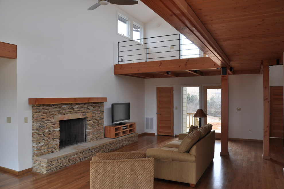 Ceiling Fan Replacement Blades Living Room Rustic with Douglas Fir Exposed Beams Exposed Rafters Natural Stone Stone Fireplace Timber White
