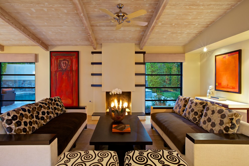 Ceramic Fireplace Logs Living Room Contemporary with Accent Wall Asian Art Asian Inspired Furniture Asymmetrical Bar Area Bath And