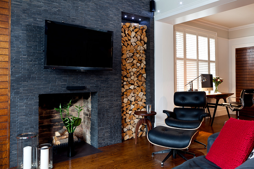 Ceramic Fireplace Logs Living Room Modern with Black Leather Chair Desk Eames Desk Chair Eames Lounge Chair Fireplace Gray