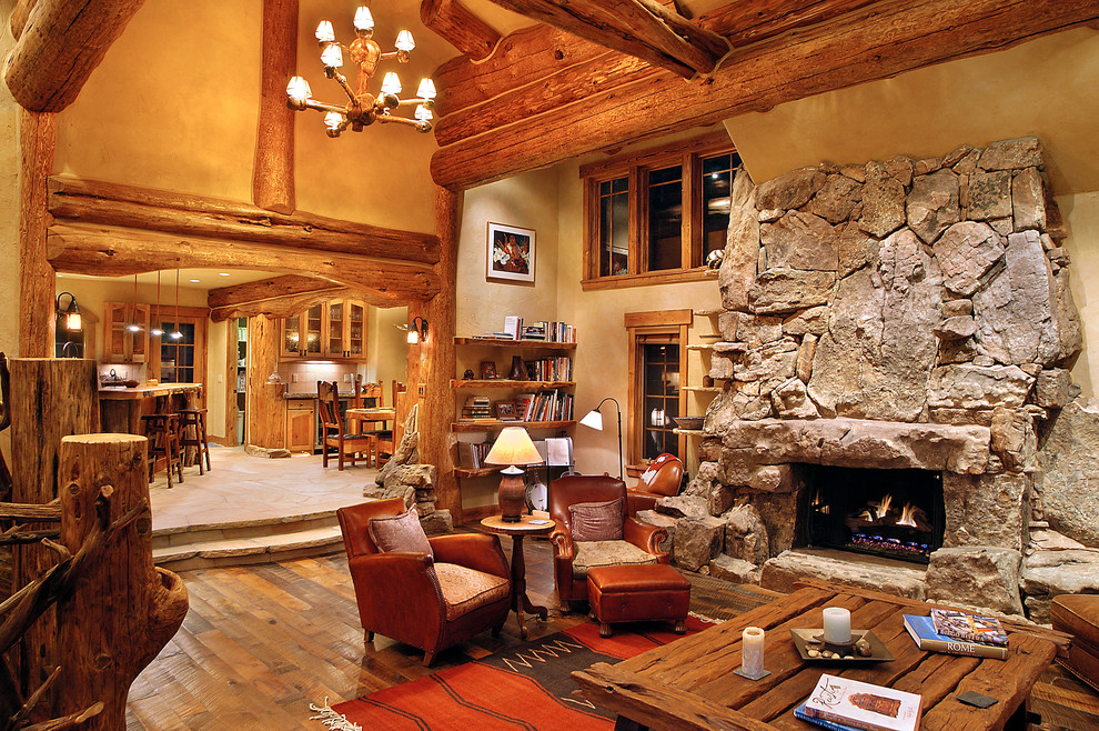 ceramic fireplace logs Living Room Traditional with beige wall character logs hybrid log house log cabin log home log