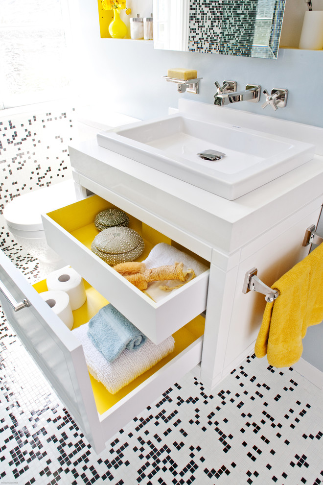 Ceramic Planters Bathroom Contemporary with Bathroom Storage Black and White Floor Mosaic Floor Tile Small Bathroom Square