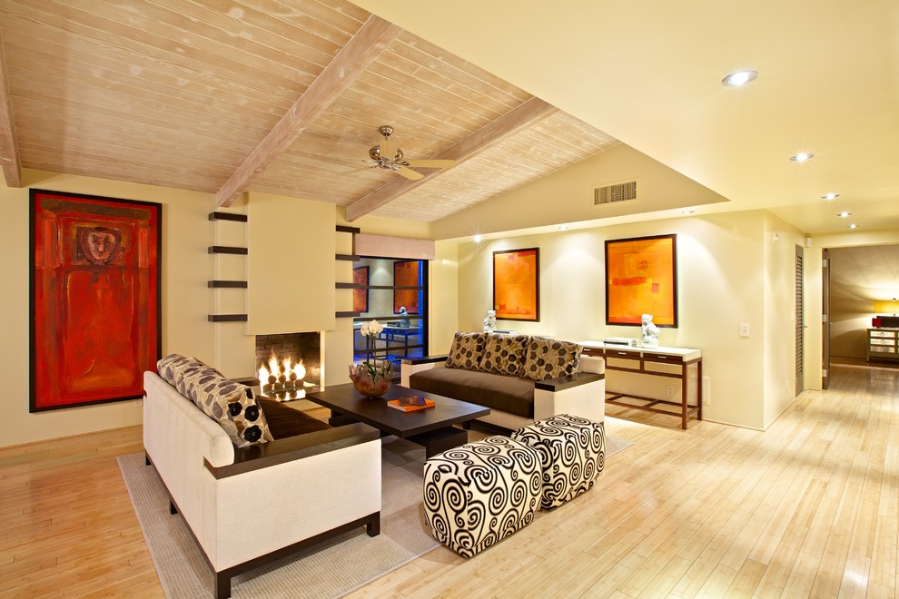 Ceramic Stool Living Room Contemporary with Asian Art Beige Fireplace Beige Sofa Beige Wall Brown Sofa Colorful Artwork