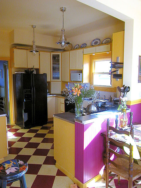 Ceramic Tile Backsplash Kitchen Farmhouse with Cabinets Chair Chrome Colorful Cooktop Counter Top Country Cupboard Diner Drawers Farm