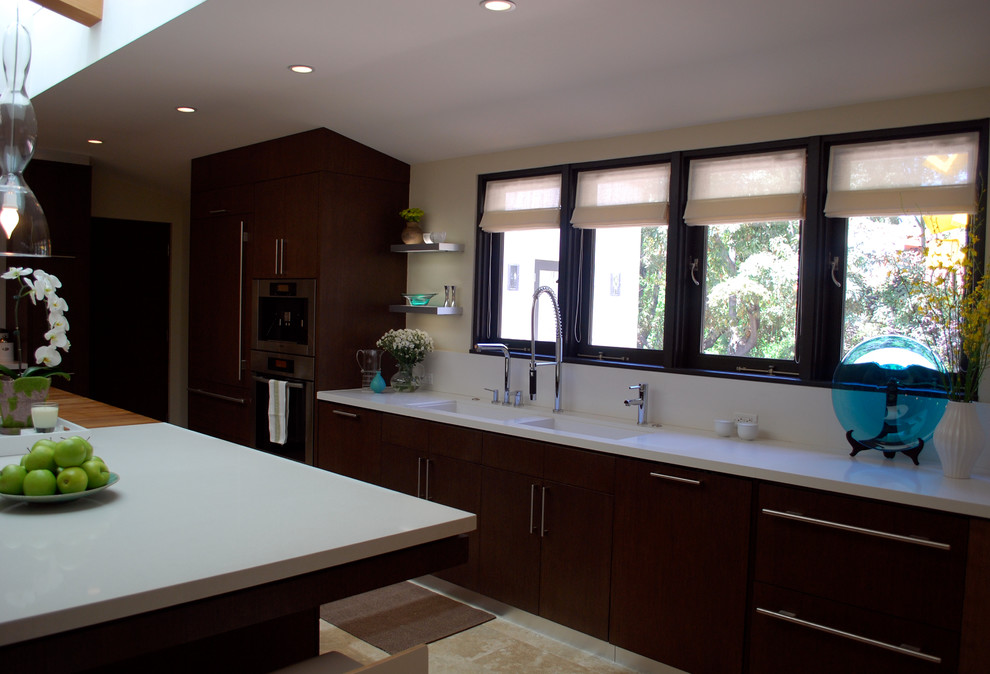 Chaffing Dishes Kitchen Contemporary with Butcher Block Custom Cabinets Custom Doors Custom Sink Dornbracht Exposed Beams Family