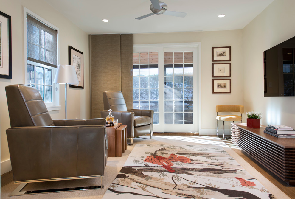 chair and a half recliner Living Room Contemporary with beige carpet beige wall brown blinds brown leather armchair brown nesting table