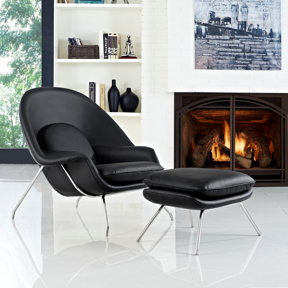Chair and Ottoman Set Spaces Modern with Black Accent Chair Lounge Chair with Ottoman Set Mid Century Modernism W Lounge