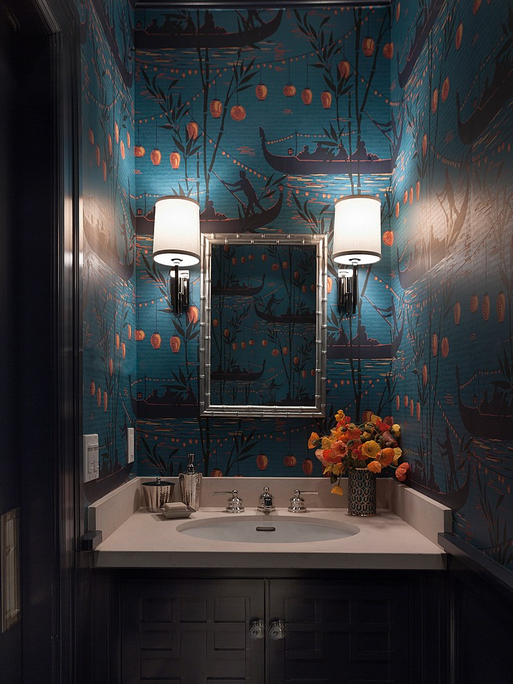 Chair Hammock Bathroom Transitional with Bamboo Mirror Blue Vase Holding Icelandic Poppies is by Fortuny Chic Powder