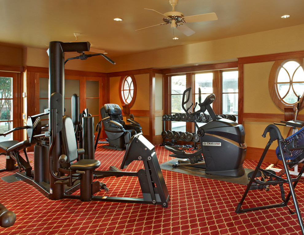chair massager Home Gym Traditional with barbells cream walls dumbbells eliptical exercise equipment free weights geometric carpet home