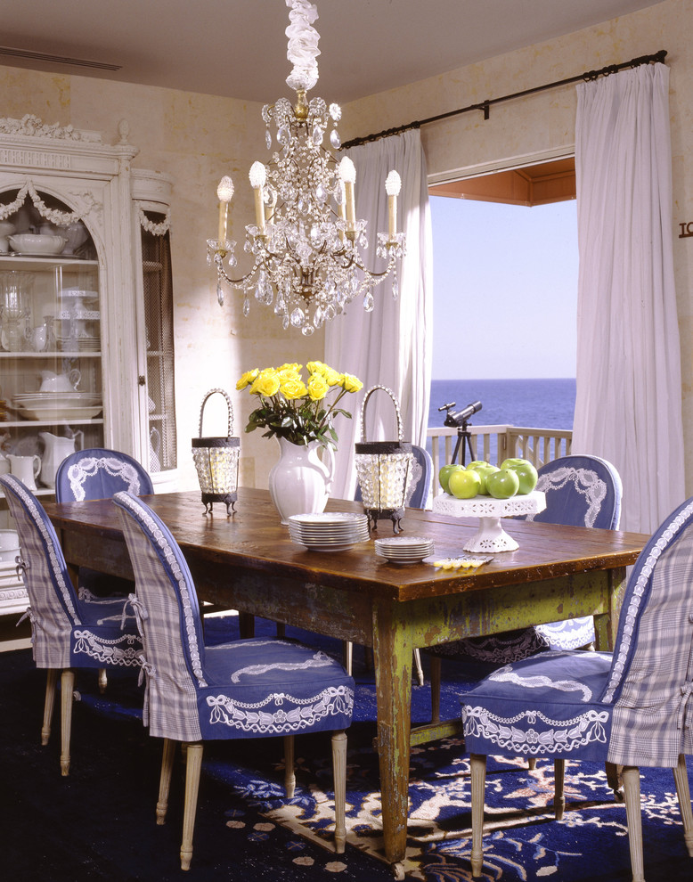 Chair Slip Covers Dining Room Traditional with Antique Wood Dining Table Balcony Beige Wall Blue and White Interior Blue