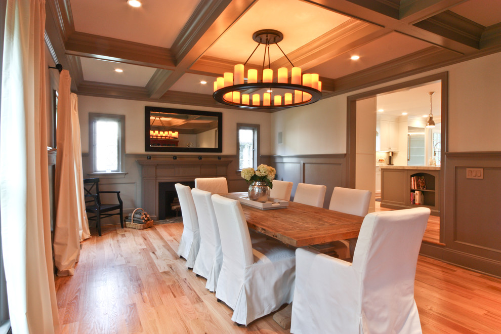 Chair Slip Covers Dining Room Traditional with Ceiling Chandelier Coffered Color Dining Farmhouse Fire Place Fireplace Gray Grey Paneled