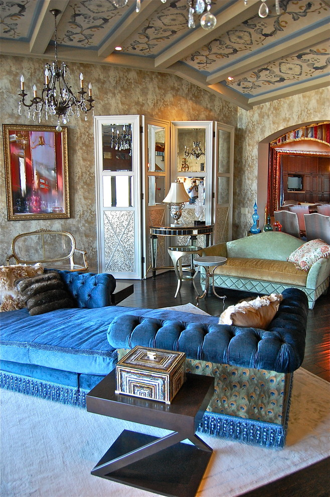 Chaise Couch Living Room Eclectic with Area Rug Blue Velvet Chandelier Coffered Ceiling Dramatic Elegant Folding Screen Fur
