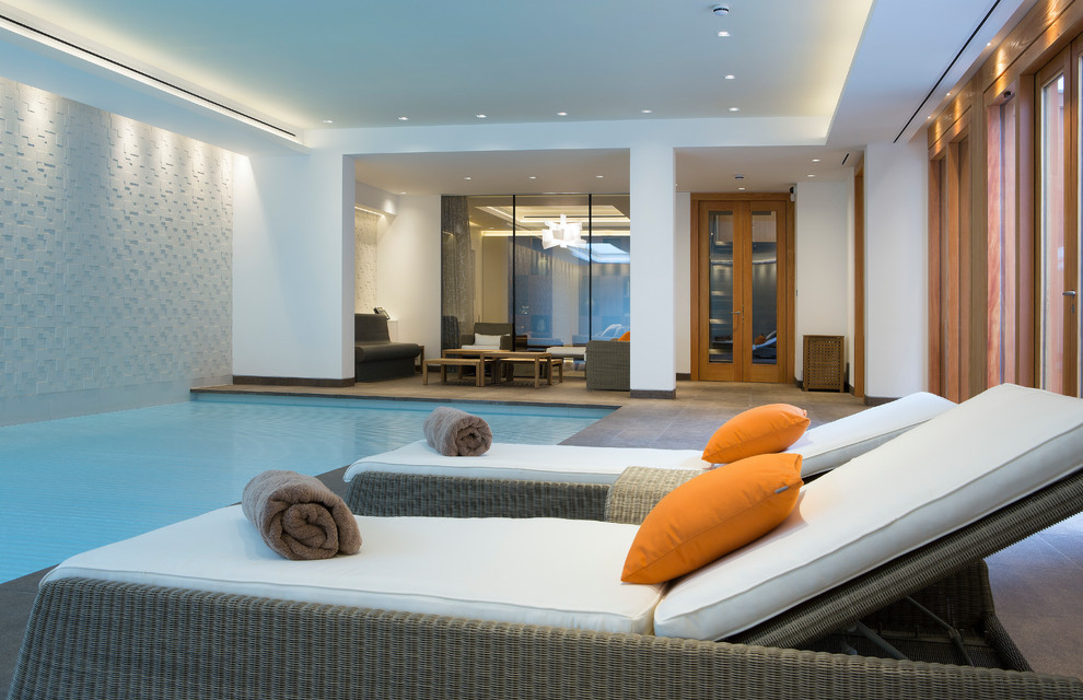 Chaise Cushions Pool Contemporary with Beige Floor Tile Brown Towels Cove Lighting Indoor Pool Indoor Swimming Pool