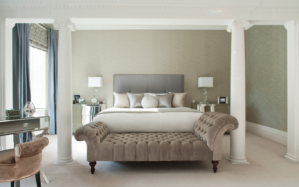 Chaise Lounge Cushions Bedroom Transitional with Bed Cushions Bedroom Bench Bench Chaise Longue Columns Ionic Ionic Columns Ionic
