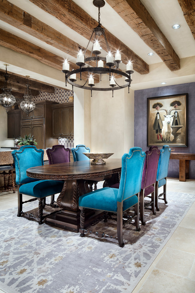 Chandelier Lamp Shades Dining Room Mediterranean with Candle Chandelier Light Fixtures Painting Upholstered Dining Chair Wooded Beam Ceiling