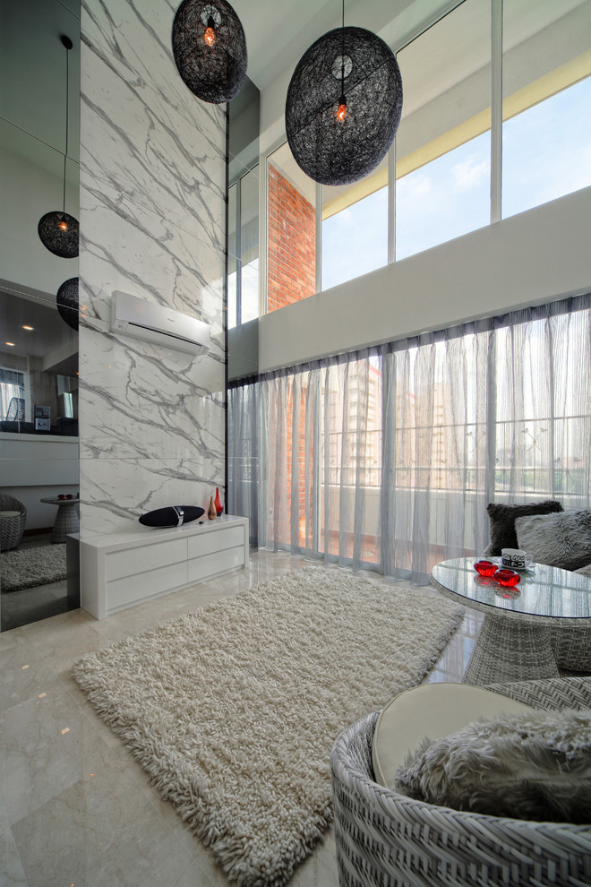 Chandelier Lamp Shades Living Room Contemporary with Area Rug Brick Flokati High Gloss Lofted Ceilings Marble Wall Pendant Lights