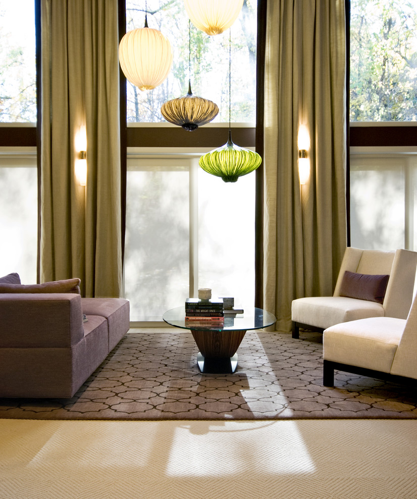 chandelier lamp shades Living Room Contemporary with area rug chaise lounge Clerestory curtains drapes glass coffee table lanterns pendant