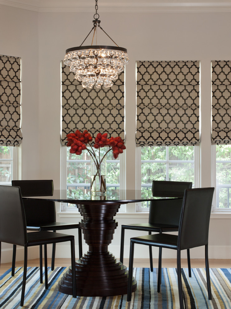 Chandelier Shades Dining Room Contemporary with Glass Chandelier Modern Dining Chairs Ochre Pear Quatrefoil Roman Shades Round Dining1
