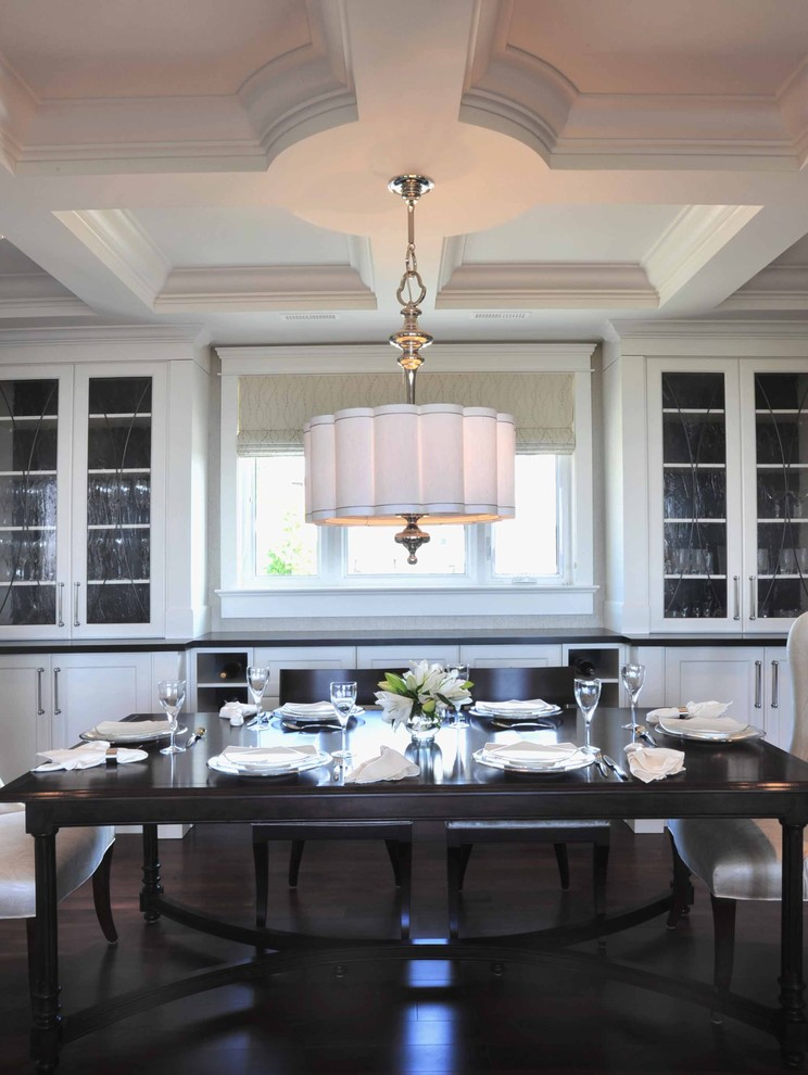 Chandelier Shades Dining Room Transitional with Coffered Ceiling Dark Stained Floors Dining Area Drum Shade Formal Glass Front