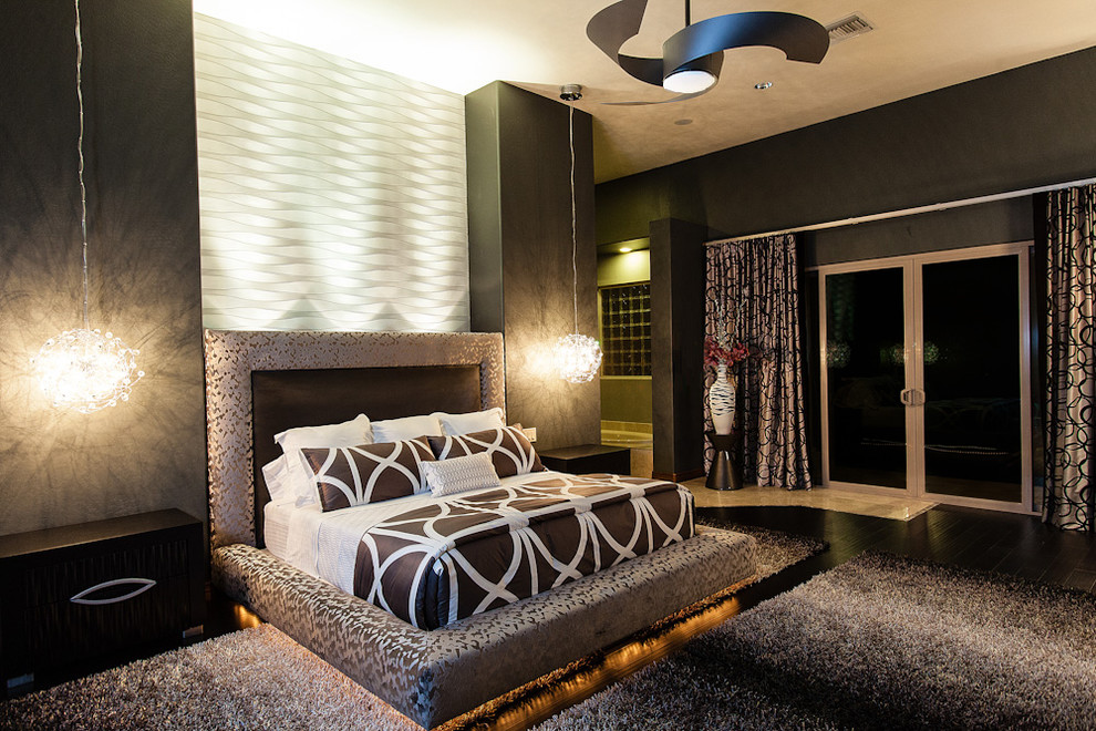 Chandra Rugs Bedroom Contemporary with 3d Wall Black Shag Rug Contemporary Fan Contemporary Pendants Custom Bed Dark