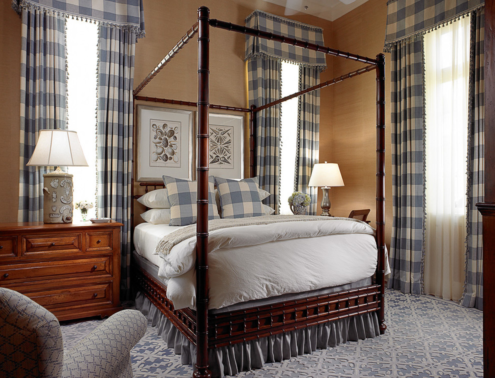 chandra rugs Bedroom Traditional with armchair bamboo furniture bedding blue and white four poster bed gingham shell