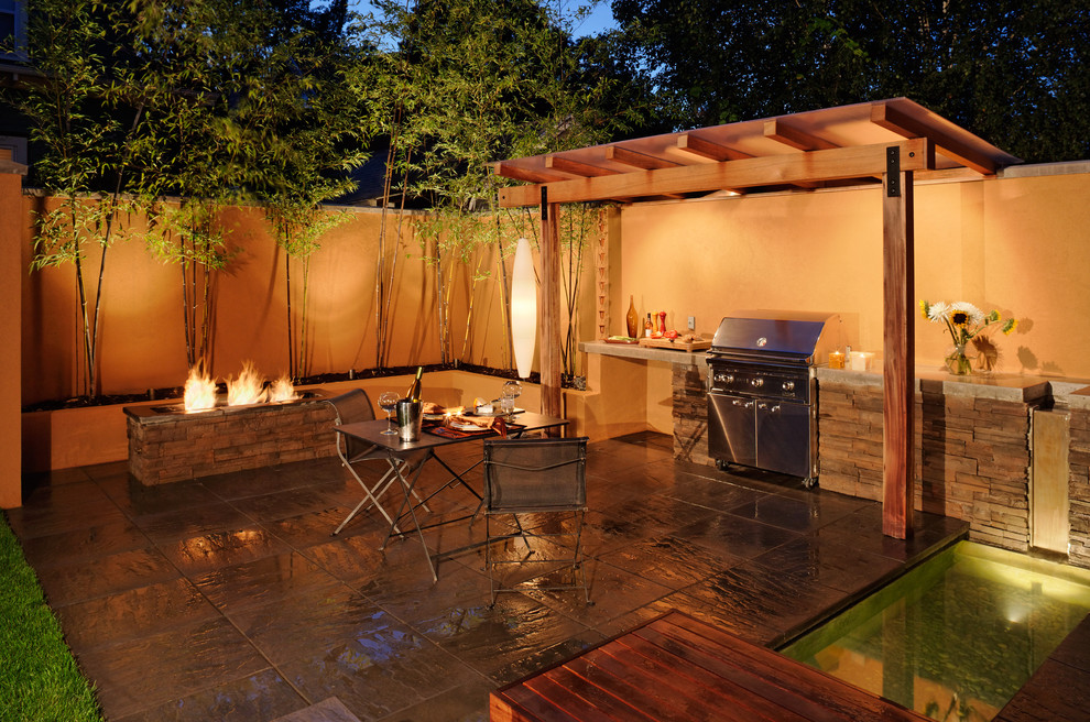 Charcoal Bbq Grill Patio Mediterranean With BBQ Built In  BBQ And Fountain Fire Pit Fountain Outdoor Kitchen Spa Stacked
