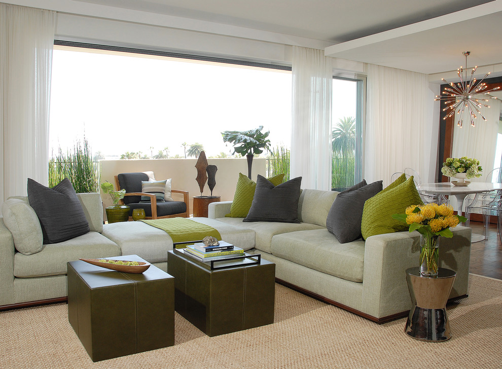 Charisma Pillows Living Room Transitional with Area Rug Balcony Chandelier Container Plants Corner Sofa Curtains Dark Floor Decorative