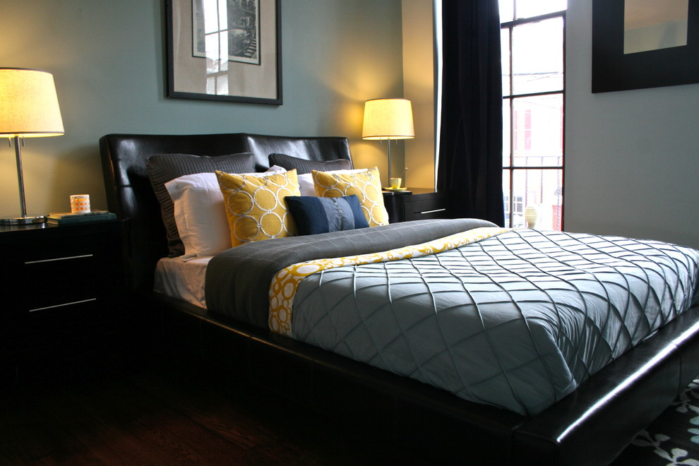 Cheap Bedding Sets Queen Bedroom Contemporary with Antique Bedside Table Black Bed Blue Duvet Blue Wall Chrome Base Lamp