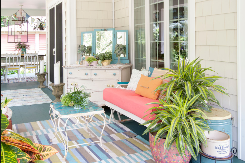 Cheap Comforters Porch Eclectic with Beige Shingle Siding Blue Painted Decking Gliding Bench Outdoor Rug Potted Plants
