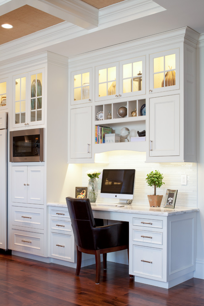 Cheap Computer Desks Kitchen Traditional with Clerestory Cabinets Coffered Ceiling Desk in Kitchen Home Office Open Shelves Recessed