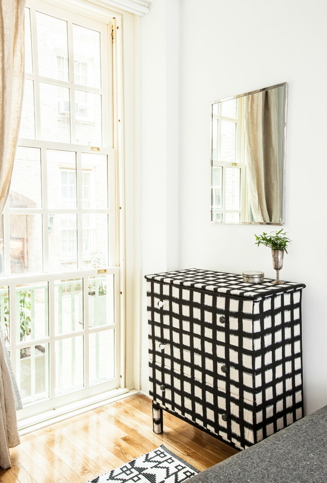 cheap dressers Bedroom Eclectic with black and white ikat blue cabinets cement tiles chartreuse tiles cinder blocks