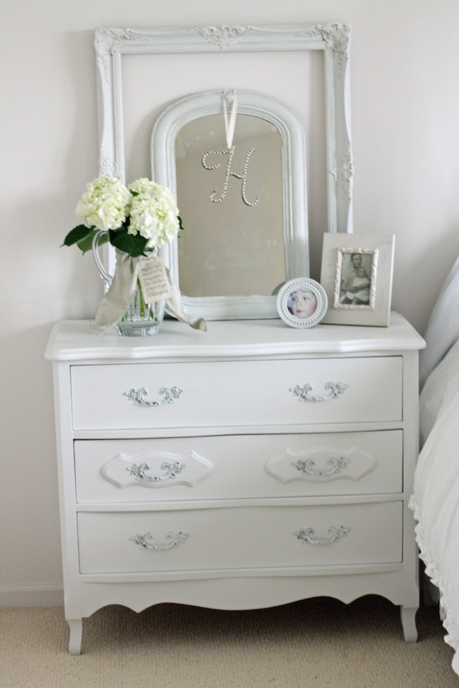 cheap dressers for sale Bedroom Shabby chic with bedside table beige carpet chest of drawers dressers floral arrangement frames French