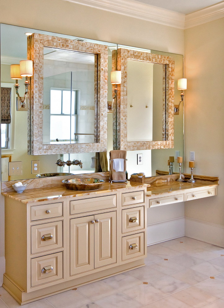 cheap mirrored furniture Bathroom Traditional with capiz shell mirror dressing table faucet mounted on wall framed mirror honey