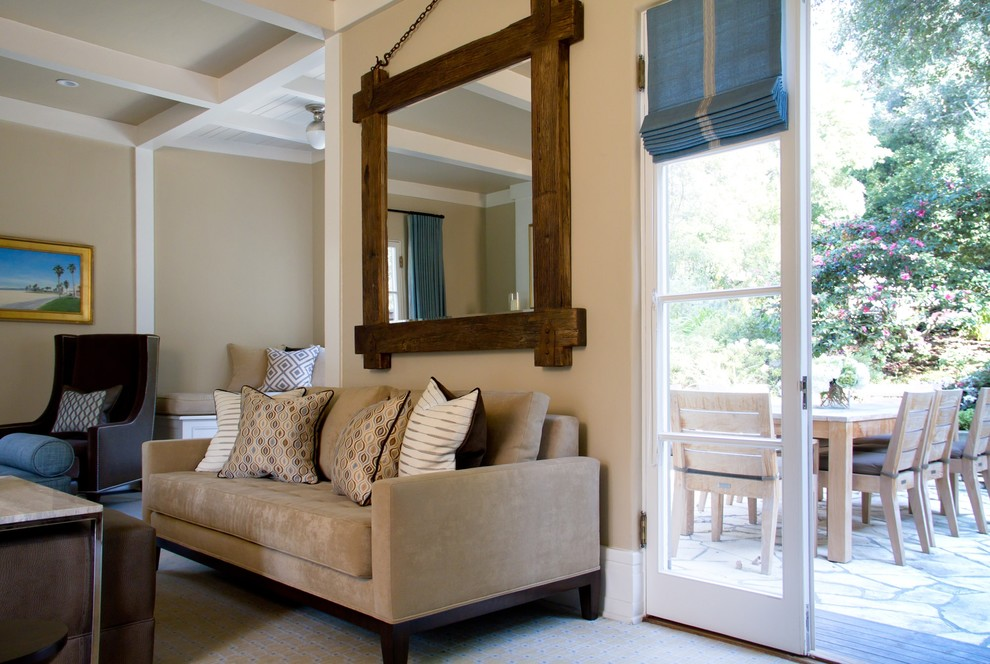 Cheap Mirrored Furniture Living Room Traditional with Beige Carpet Sofa Carpeting Coffered Ceiling Flagstone French Doors Outdoor Dining Patio