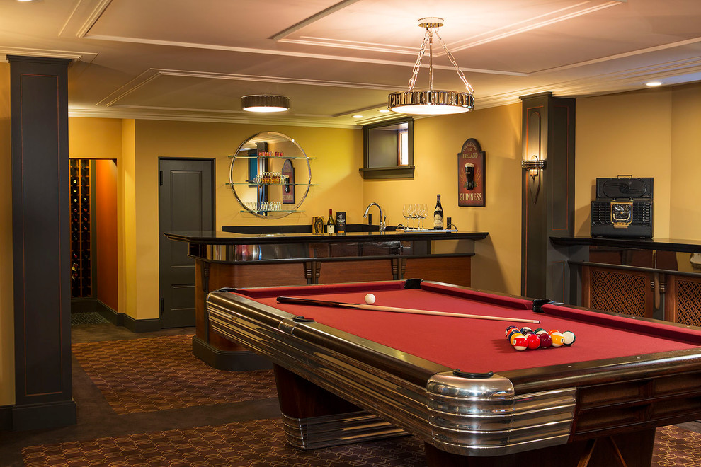 Cheap Pool Tables for Sale Basement Traditional with Basement Bar Black and Red Column Black and Red Pillar Brown Carpet