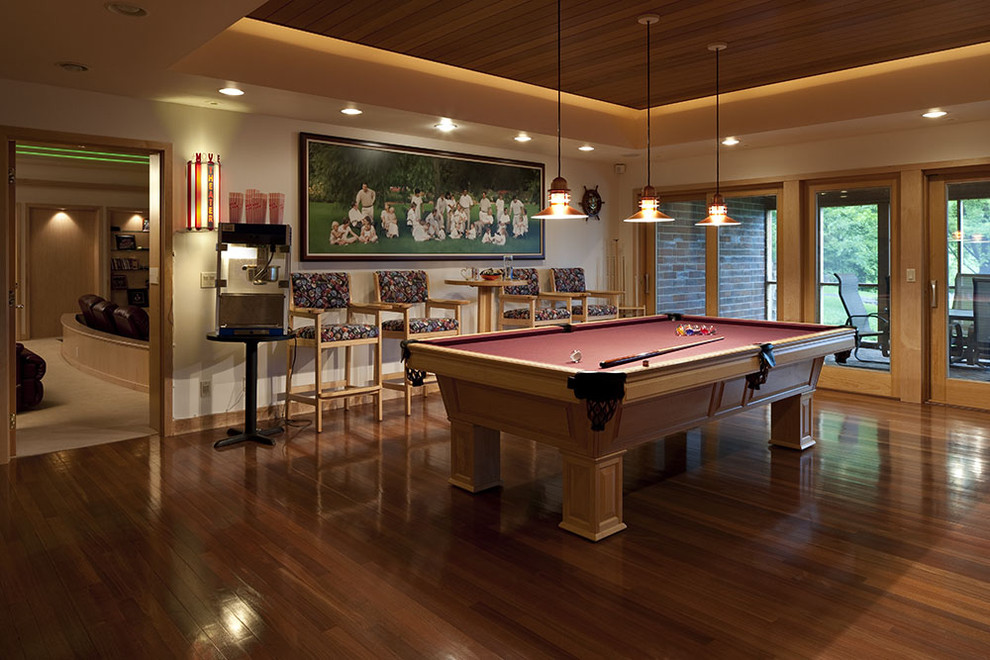 Cheap Pool Tables for Sale Family Room Eclectic with Barstools Ceiling Lighting Ceiling Treatment Cove Lighting Dark Floor Game Room Pendant
