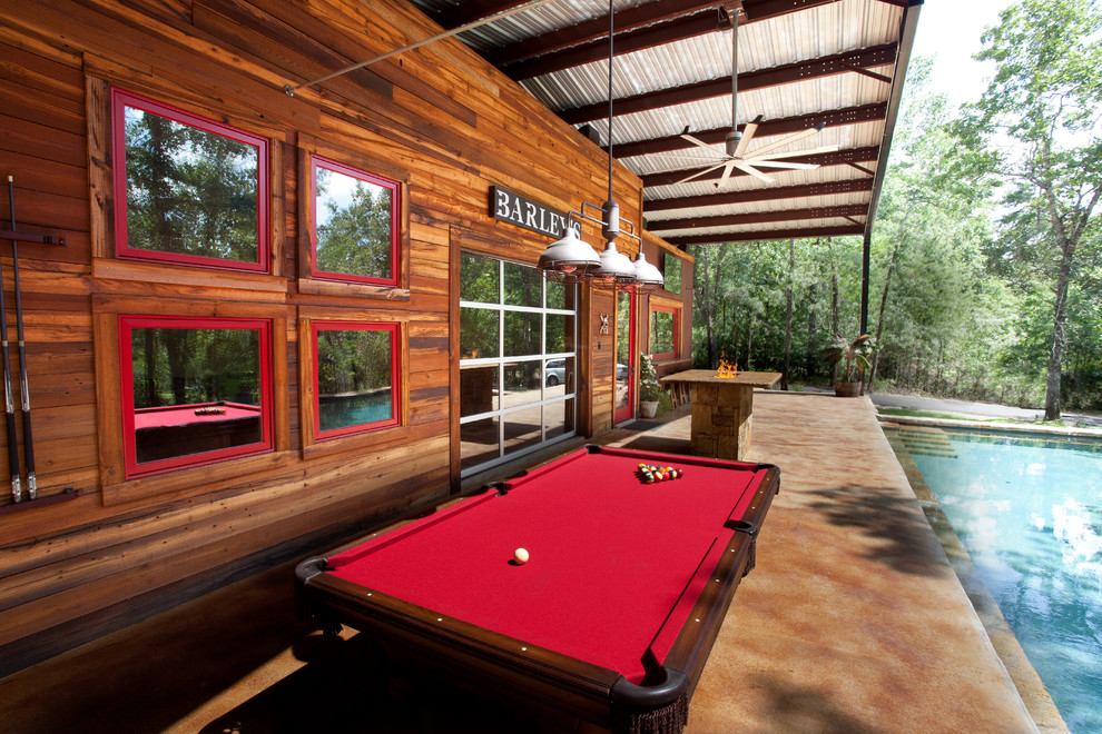 Cheap Pool Tables for Sale Patio Rustic with Bar Big Ass Fan Creosote Fire Pit Garage Door Metal Roof Outdoor