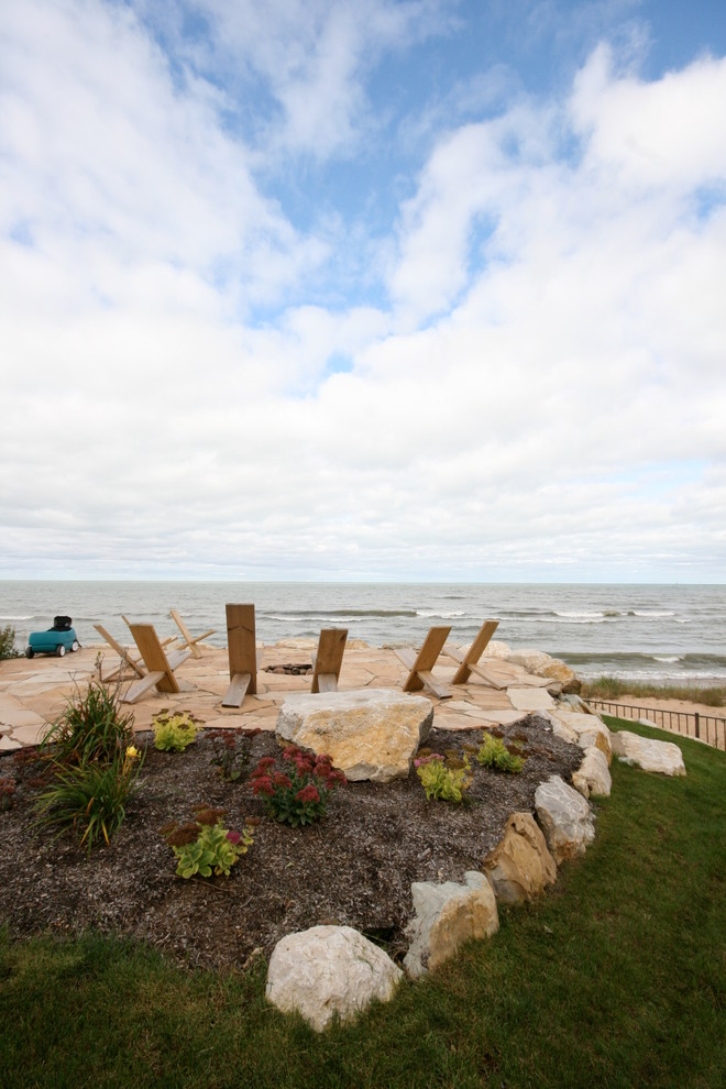 Cheap Rocking Chairs Landscape Traditional with Adirondack Chair Boulders Cottage Fire Pit Firepit Flagstone Lake House Lake Michigan