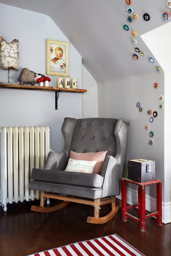 Cheap Rocking Chairs Nursery Contemporary With Baby Room Brackets Chair Dark  Wood Floor Gray Velvet Gray Walking Chair