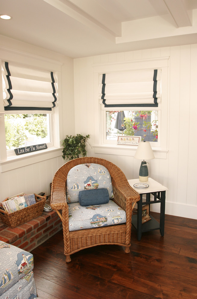 cheap roman shades Family Room Beach with bead board beams blue stripe bouy brick coffered ceiling cushion lamp basket