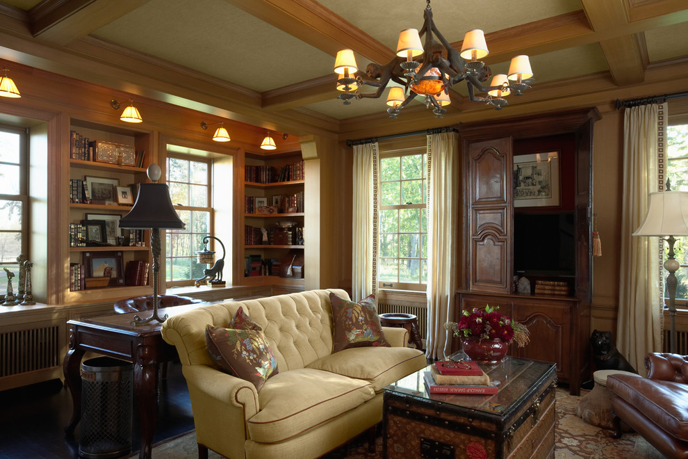 cheap sofa sets Family Room Traditional with area rug bookcase bookshelves built ins chandelier coffered ceiling curtains decorative pillows