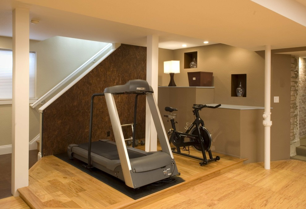 Cheap Workout Equipment Home Gym Contemporary with Accent Wall Built Ins Ceiling Lighting Columns Cubbies Faux Finish Gym Recessed