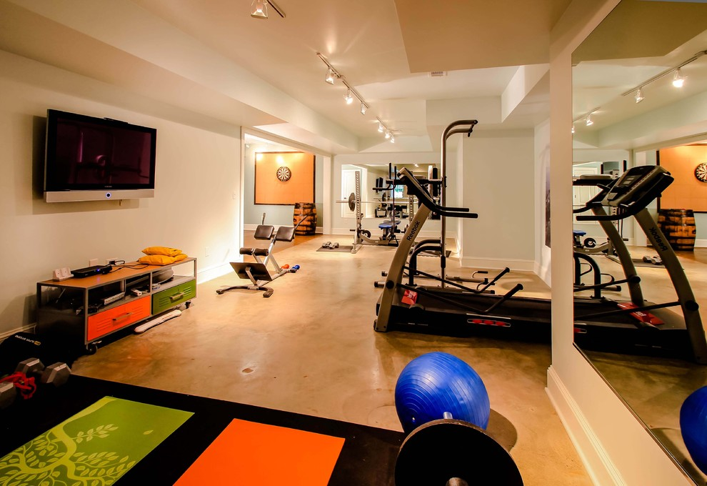 Cheap Workout Equipment Home Gym Contemporary with Basement Gym Basement Renovation Colorful Exercise Room Finished Basement Flat Screen Flat