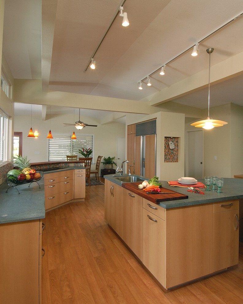 Cheese Cutting Board Kitchen Contemporary with Cabinet Front Refrigerator Ceiling Fan Ceiling Lighting Cutting Board Exposed Beams Green