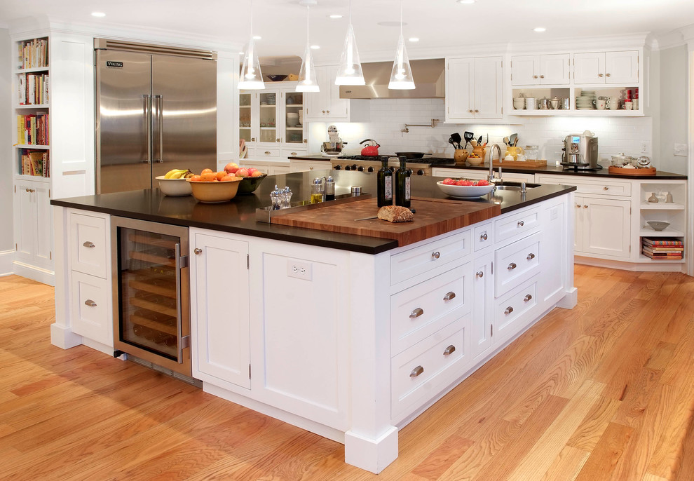 Cheese Cutting Board Kitchen Traditional with Beverage Refrigerator Bin Pulls Black Granite Counter Top Butcher Block Ceiling Lighting